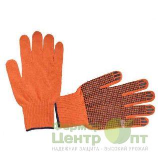 Перчатки Х/Б с нанесением ПВХ-точек (оранжевые)